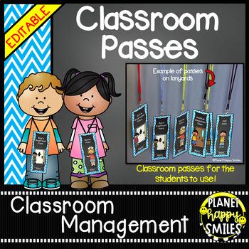 Classroom Passes (EDITABLE) ~ Aqua and Chalkboard