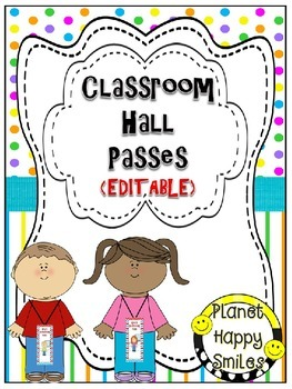 Classroom Passes (EDITABLE) ~ Bright Polka Dots & Stripes