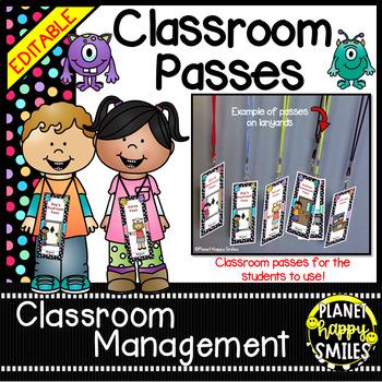 Classroom Passes (EDITABLE) ~ Monsters