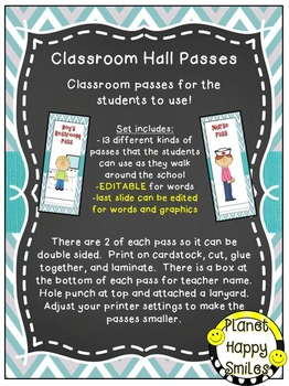 Classroom Passes (EDITABLE) ~ Teal and Chalkboard