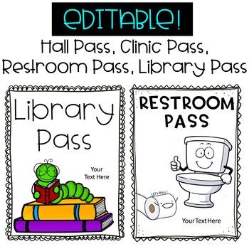 Classroom Passes - Hall Pass, Library Pass, Restroom / Bathroom, Clinic / Nurse