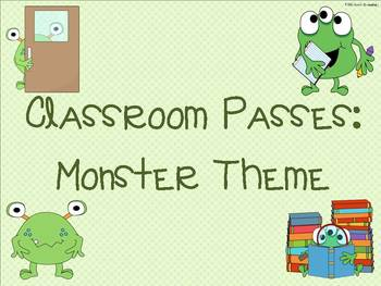 Classroom Passes:  Monster Theme