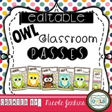 OWL Classroom Passes - EDITABLE