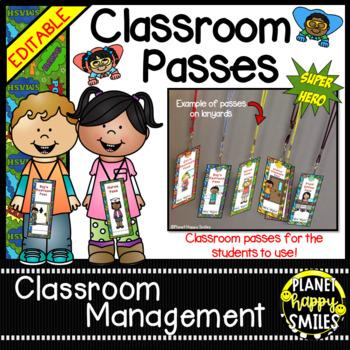 Classroom Passes ~ Super Hero Theme