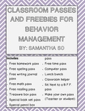 Classroom Passes and Freebies for Behavior Management