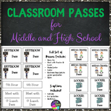 Back to School Classroom Passes for Middle and High School