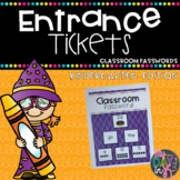 Entrance Tickets and Classroom Password Set: Kindergarten Edition