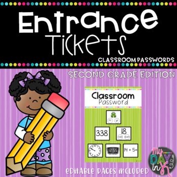 Entrance Tickets and Classroom Password Set: Second Grade Edition