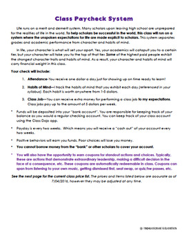 Classroom Paycheck Behavior Tracking System *GROWTH MINDSET* *GRADES 4-12*