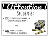 Classroom Pencil Sharpener sign