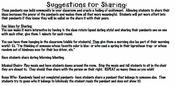 Classroom Pendants- Monthly Writing Assignments- greatCommunity Builder