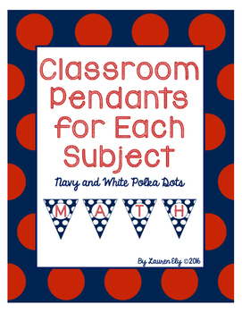 Classroom Pendants for Each Subject