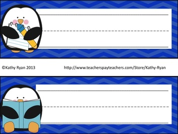 Classroom Penguin Pack with Different Color Chevron Backgrounds