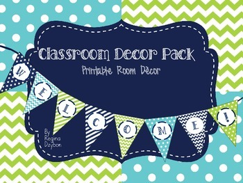 Classroom Decor in Navy, Green, and Aqua
