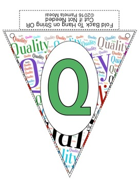 Alphabet Classroom Pennants (Word Cloud Brights)