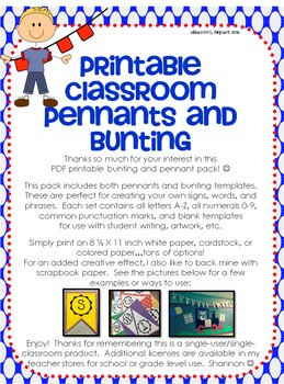 Classroom Pennants and Bunting (Letters, Numbers, Punctuation, and Blank)