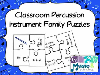 Classroom Percussion Instrument Puzzles
