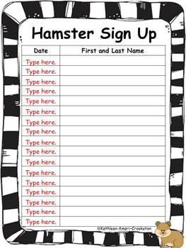 Classroom Pet Forms: Hamster Edition