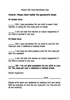Classroom Pet - Letter to the Parents