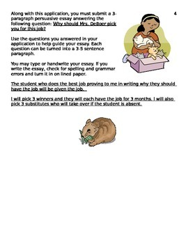 Classroom Pet Parent Permission and Job Application