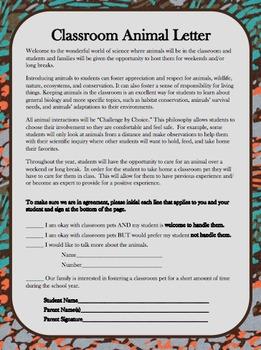 Classroom Pets Parent Letter