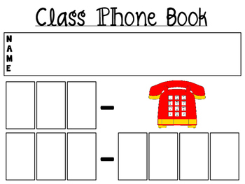 Classroom Phone Book Printable Center Activity