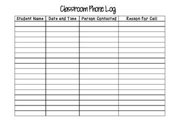 Classroom Phone Log