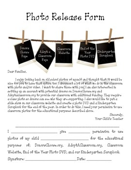 Classroom Photo Release Form