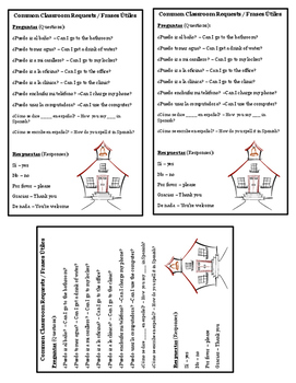 Classroom Phrases Printable Card