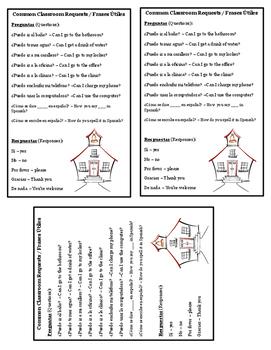 Classroom Phrases Printable Card