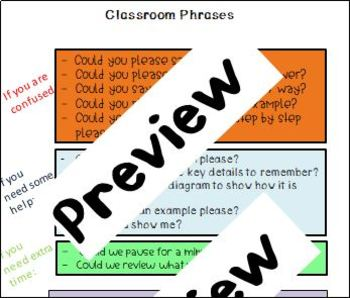 Classroom Phrases for Students with Language Disorders