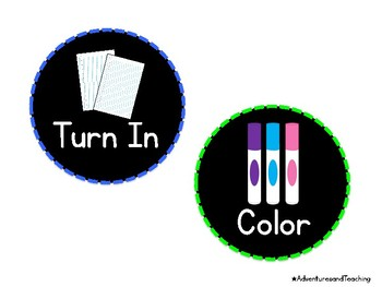 Classroom Picture Directions Labels {Black Background}