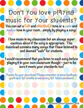 Classroom Playlist: 60 clean songs