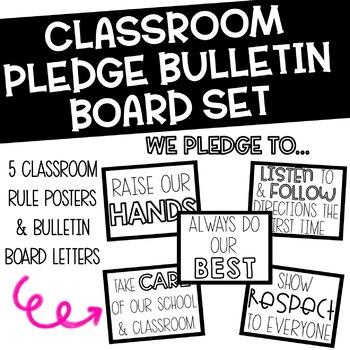 Classroom Pledge Posters Bulletin Board Set