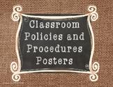 Classroom Policies and Procedures Posters- Burlap Version