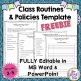 Classroom Policies and Routines Expectations Template (FRE