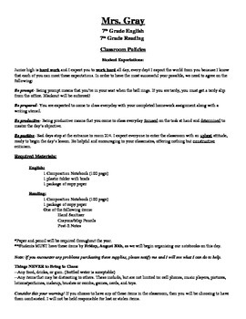 Classroom Policy Handout