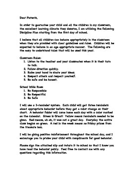 Classroom Policy Letter