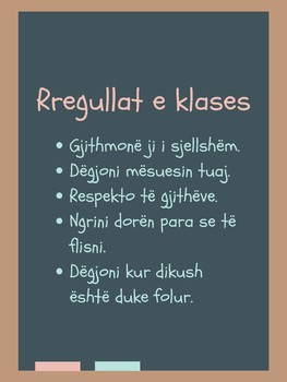 Classroom Poster - Albanian Rules
