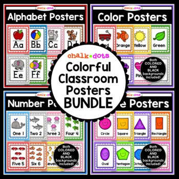 Classroom Posters Bundle - Alphabet, Colors, Numbers, and Shapes