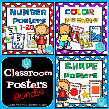 Classroom Poster Bundle - Numbers, Colors, Shapes
