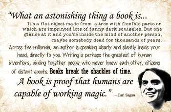 Classroom Poster - Carl Sagan - What An Astonishing Thing a Book Is