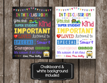 Classroom Poster - EDITABLE - In this Classroom - Rules - Expectations