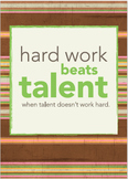 Classroom Poster: Hard Work beats Talent