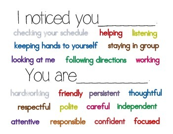 Classroom Poster: I noticed_______; you are__________