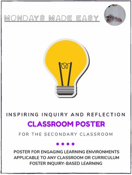 Classroom Poster | INSPIRING INQUIRY AND REFLECTION in the Secondary Classroom