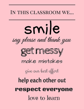 Classroom Poster: In this classroom... (Pink)