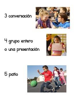 Classroom Poster - Niveles de Voz (Voice levels in Spanish)
