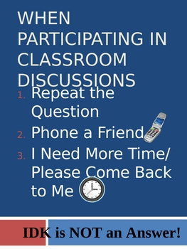 Classroom Poster: Participating in Classroom Discussions