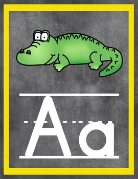 Classroom Poster Set: Alphabet, Numbers, Shapes (Chalkboard Style)